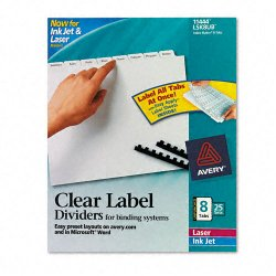 Avery Dennison - 11444 - Print & Apply Clear Label Unpunched Dividers, 8-Tab, Ltr, 25 Sets