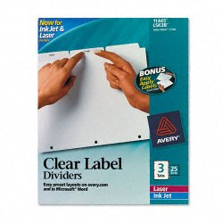 Avery Dennison - 11445 - Print & Apply Clear Label Dividers w/White Tabs, 3-Tab, Letter, 25 Sets