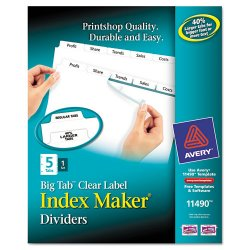 Avery Dennison - 11490 - Index Maker Print & Apply Clear Label Dividers w/White Tabs, 5-Tab, Letter