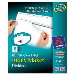 Avery Dennison - 11491 - Index Maker Print & Apply Clear Label Dividers w/White Tabs, 8-Tab, Letter