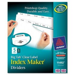 Avery Dennison - 11492 - Print & Apply Clear Label Dividers w/White Tabs, 5-Tab, Letter, 5 Sets