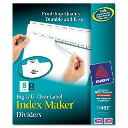 Avery Dennison - 11493 - Print & Apply Clear Label Dividers w/White Tabs, 8-Tab, Letter, 5 Sets