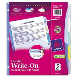 Avery Dennison - 72786 - Write-On Big Tab Plastic Dividers, 5-Tab, Letter