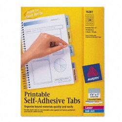 Avery Dennison - 16281 - Printable Plastic Tabs with Repositionable Adhesive, 1 1/4, Assorted, 96/Pack