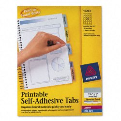 Avery Dennison - 16283 - Printable Plastic Tabs with Repositionable Adhesive, 1 3/4, Assorted, 80/Pack