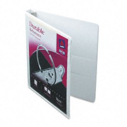 "Avery Dennison - 17002 - Durable View Binder w/Slant Rings, 11 x 8 1/2, 1/2"" Cap, White"