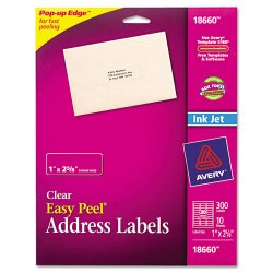 Avery Dennison - 18660 - Clear Easy Peel Address Labels, Inkjet, 1 x 2 5/8, 300/Pack