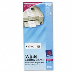 Avery Dennison - 2160 - Mini-Sheets Address Labels, 1 x 2 5/8, White, 200/Pack