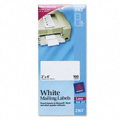 Avery Dennison - 2163 - Mini-Sheets Shipping Labels, 2 x 4, White, 100/Pack