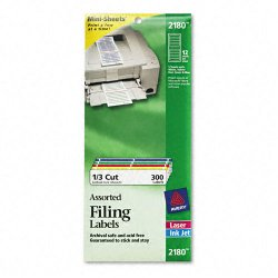 Avery Dennison - 2180 - File Folder Labels on Mini Sheets, 2/3 x 3 7/16, Assorted, 300/Pack