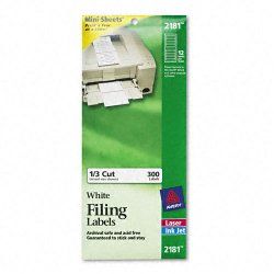 Avery Dennison - 2181 - File Folder Labels on Mini Sheets, 2/3 x 3 7/16, White, 300/Pack