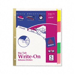 Avery Dennison - 23076 - Write-On Tab Index Divider, Multicolor, 1EA