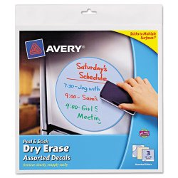 Avery Dennison - 24309 - Peel & Stick Dry Erase Decals, Quotes, 10 x 10 Sheets, Yellow, 3/Pack