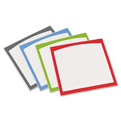 Avery Dennison - 24320 - Peel & Stick Dry Erase Sheets, Border Sheets, 10 x 10, White/Asst., 4/Pack