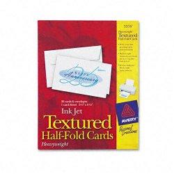 Avery Dennison - 3378 - Textured Half-Fold Greeting Cards, Inkjet, 5 1/2 x 8 1/2, Wht, 30/Bx w/Envelopes