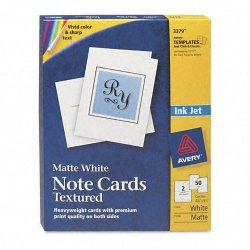 Avery Dennison - 3379 - Textured Note Cards, Inkjet, 4 1/4 x 5 1/2, Uncoated White, 50/Bx w/Envelopes