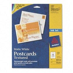 Avery Dennison - 3380 - Textured Postcards, Inkjet, Heavyweight, 4 1/4 x 5 1/2, Matte White, 120/Box
