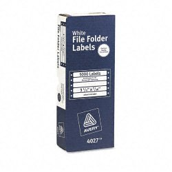 Avery Dennison - 4027 - Dot Matrix File Folder Labels, 7/16 x 3 1/2, White, 5000/Box