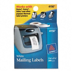 Avery Dennison - 4150 - Thermal Printer Address Labels, 1 1/8 x 3 1/2, White, 130/Roll, 2 Rolls
