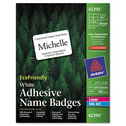Avery Dennison - 42395 - EcoFriendly Adhesive Name Badge Labels, 2 1/3 x 3 3/8, White, 160/Box