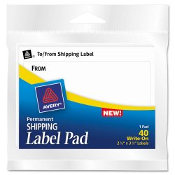 "Avery Dennison - 45280 - Label Pads, ""From/To"", Permanent, 3 x 4, White, 40/Pack"