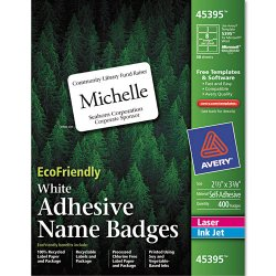 Avery Dennison - 45395 - EcoFriendly Adhesive Name Badge Labels, 2 1/3 x 3 3/8, White, 400/Box