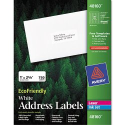 Avery Dennison - 48160 - EcoFriendly Laser/Inkjet Easy Peel Mailing Labels, 1 x 2 5/8, White, 750/Pack