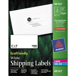 Avery Dennison - 48163 - EcoFriendly Laser/Inkjet Easy Peel Shipping Labels, 2 x 4, White, 1000/Pack