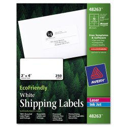 Avery Dennison - 48263 - EcoFriendly Laser/Inkjet Shipping Labels, 2 x 4, White, 250/Pack