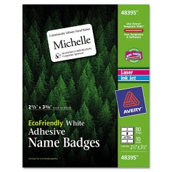 Avery Dennison - 48395 - EcoFriendly Adhesive Name Badge Labels, 2 1/3 x 3 3/8, White, 80/Pack