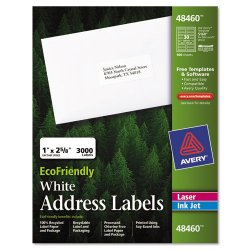 Avery Dennison - 48460 - EcoFriendly Laser/Inkjet Easy Peel Mailing Labels, 1 x 2 5/8, White, 3000/Pack