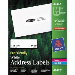 Avery Dennison - 48462 - EcoFriendly Laser/Inkjet Easy Peel Mailing Labels, 1 1/3 x 4, White, 1400/Pack