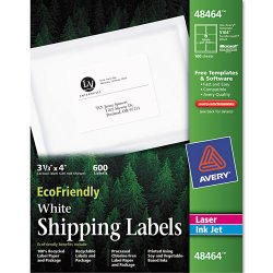 Avery Dennison - 48464 - EcoFriendly Laser/Inkjet Shipping Labels, 3 1/3 x 4, White, 600/Pack