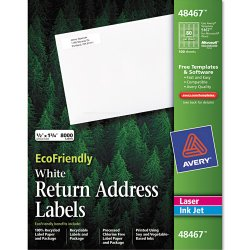 Avery Dennison - 48467 - EcoFriendly Laser/Inkjet Easy Peel Return Address Labels, .5 x 1.75, White, 8000