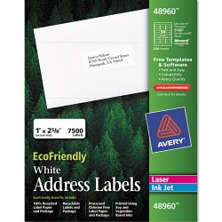 Avery Dennison - 48960 - EcoFriendly Laser/Inkjet Easy Peel Mailing Labels, 1 x 2 5/8, White, 7500/Pack