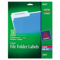 Avery Dennison - 5029 - Clear File Folder Labels, 1/3 Cut, 2/3 x 3 7/16, 450/Pack