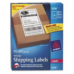 Avery Dennison - 5126 - Shipping Labels with TrueBlock Technology, Laser, 5 1/2 x 8 1/2, White, 200/Box