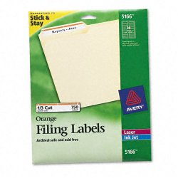 Avery Dennison - 5166 - Permanent File Folder Labels, TrueBlock, Inkjet/Laser, Orange Border, 750/Pack