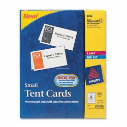 Avery Dennison - 5302 - Small Tent Card, White, 2 x 3 1/2, 4 Cards/Sheet, 160/Box