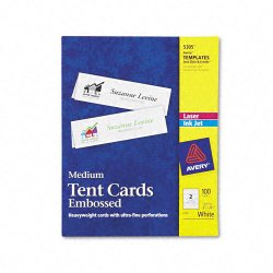 Avery Dennison - 5305 - Medium Embossed Tent Cards, White, 2 1/2 x 8 1/2, 2 Cards/Sheet, 100/Box