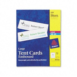 Avery Dennison - 5309 - Large Embossed Tent Card, White, 3 1/2 x 11, 1 Card/Sheet, 50/Box