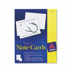 Avery Dennison - 5315 - Note Cards, Laser Printer, 4 1/4 x 5 1/2, Uncoated White, 60/Pack with Envelopes