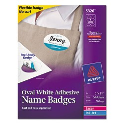 Avery Dennison - 7278205326 - Oval Self-Adhesive Laser/Inkjet Name Badge Label, 2 x 3 1/3, White, 160/PK