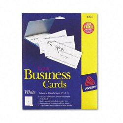 Avery Dennison - 5371 - Printable Microperf Business Cards, Laser, 2 x 3 1/2, White, Uncoated, 250/Pack