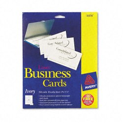 Avery Dennison - 5376 - Printable Microperf Business Cards, Laser, 2 x 3 1/2, Ivory, Uncoated, 250/Pack