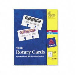 Avery Dennison - 5385 - Small Rotary Cards, Laser/Inkjet, 2 1/6 x 4, 8 Cards/Sheet, 400 Cards/Box