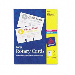 Avery Dennison - 5386 - Large Rotary Cards, Laser/Inkjet, 3 x 5, 3 Cards/Sheet, 150 Cards/Box