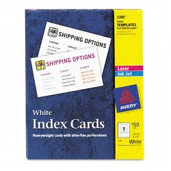 Avery Dennison - 5388 - Unruled Index Cards for Laser and Inkjet Printers, 3 x 5, White, 150/Box