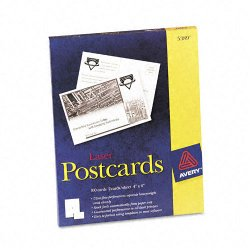 Avery Dennison - 5389 - Postcards for Laser Printers, 4 x 6, Uncoated White, 2/Sheet, 100/Box