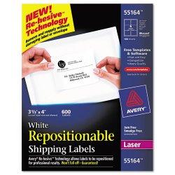 Avery Dennison - 55164 - Laser Shipping Label, Temp. 55164, PK100